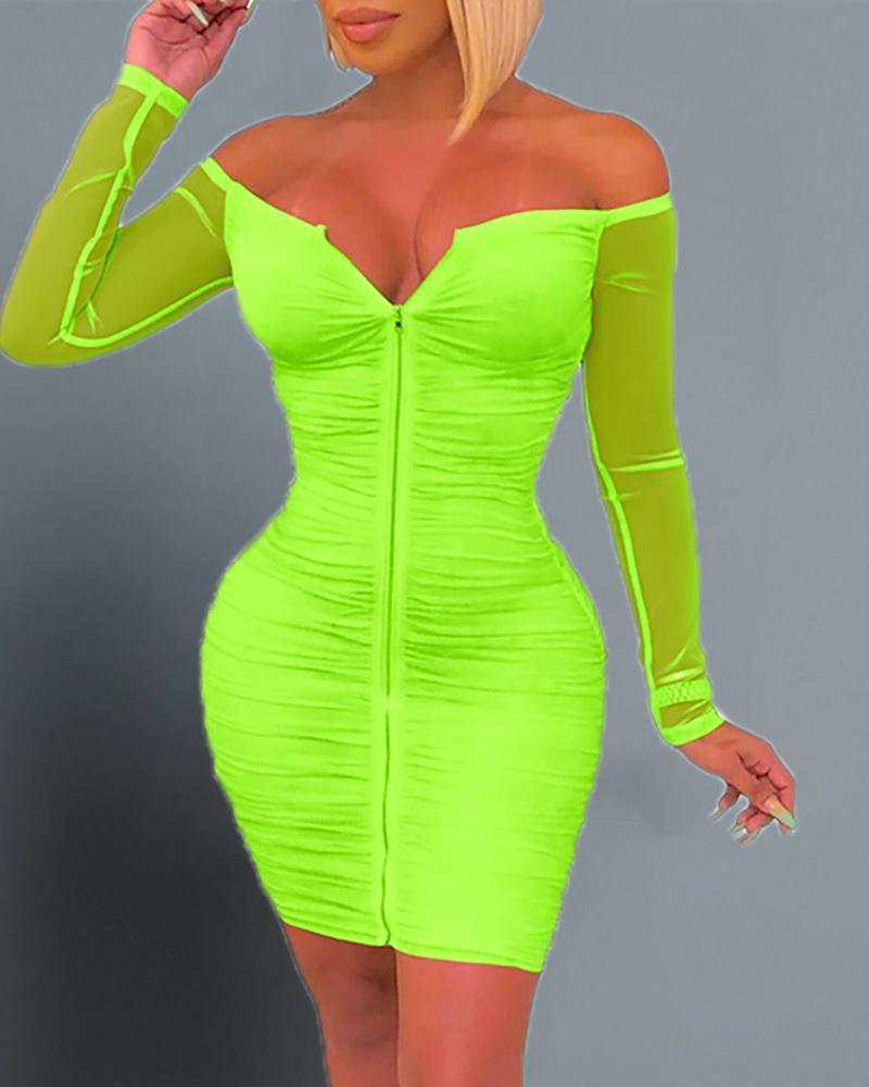 ivrose / Off Shoulder Ruched Bodycon Dress
