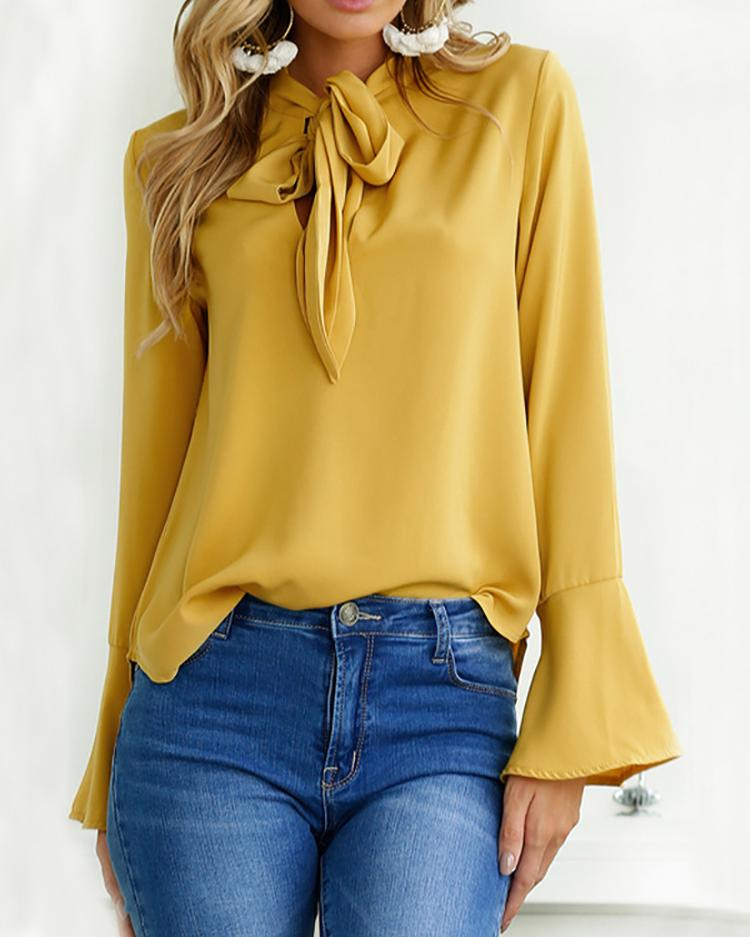 Fashion Tied Neck Bell Sleeve Top Blouse