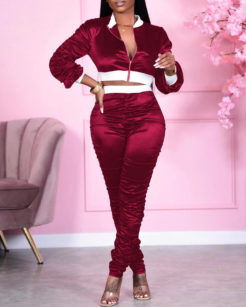 boutiquefeel / Colorblock Zip Top & Ruched Pants Set