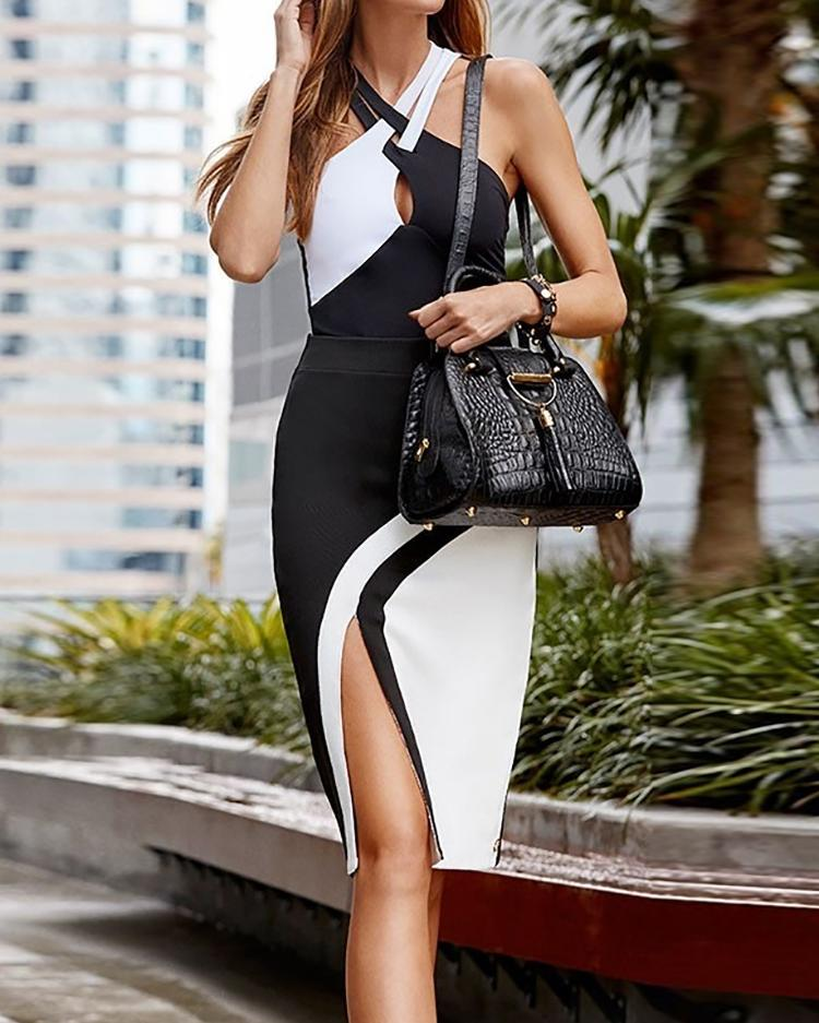 Colorblock Crisscross Bandage Slit Bodycon Dress