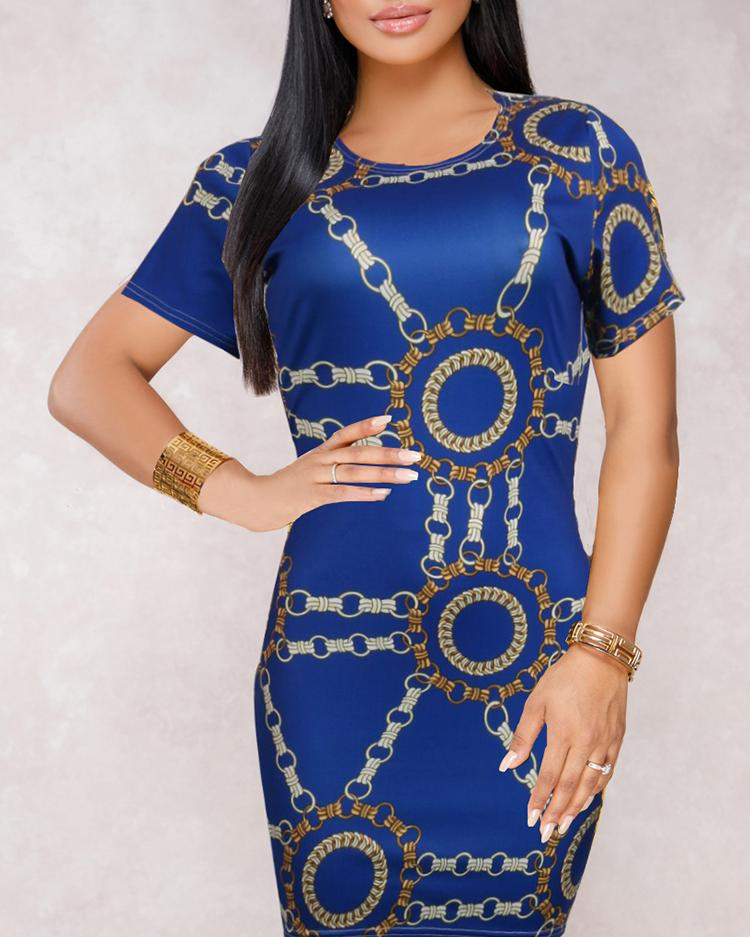 Retro Chains Print Bodycon Mini Dress фото