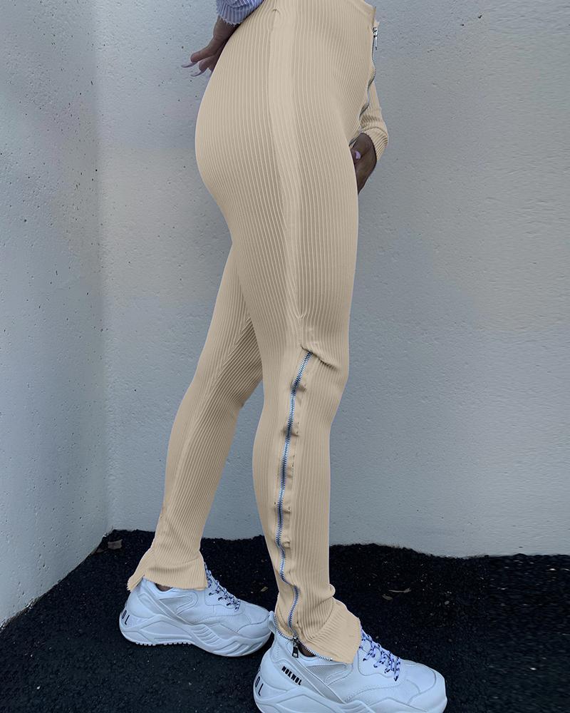 Zipper Design High Waist Bootcut Pants фото