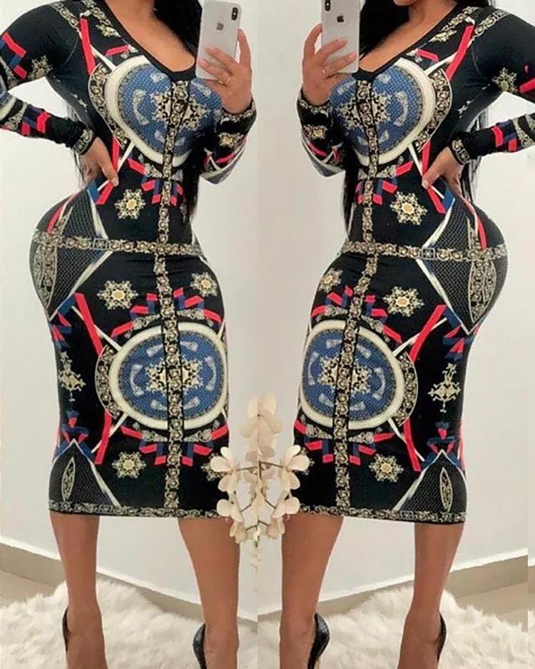 Colorblock Geo Print Long Sleeve Dress фото