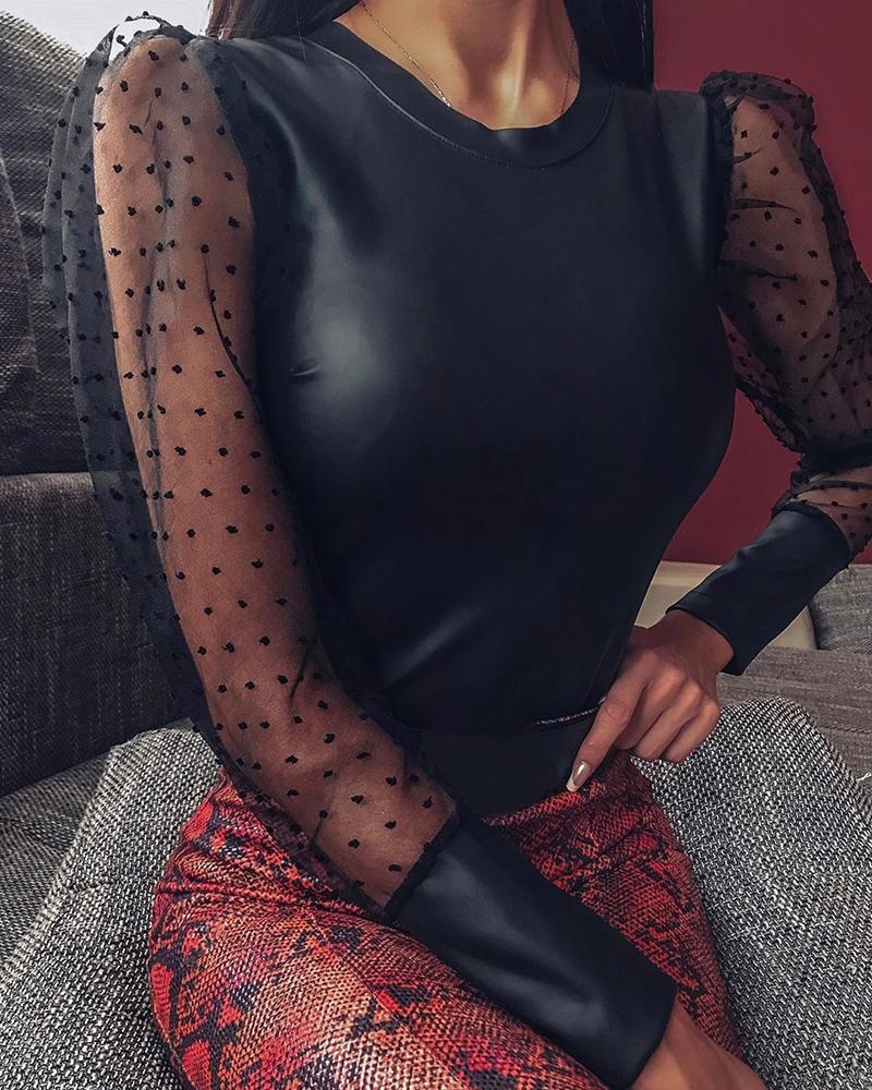 ivrose / Blusa de manga hinchada de malla de punto de cuero de imitación