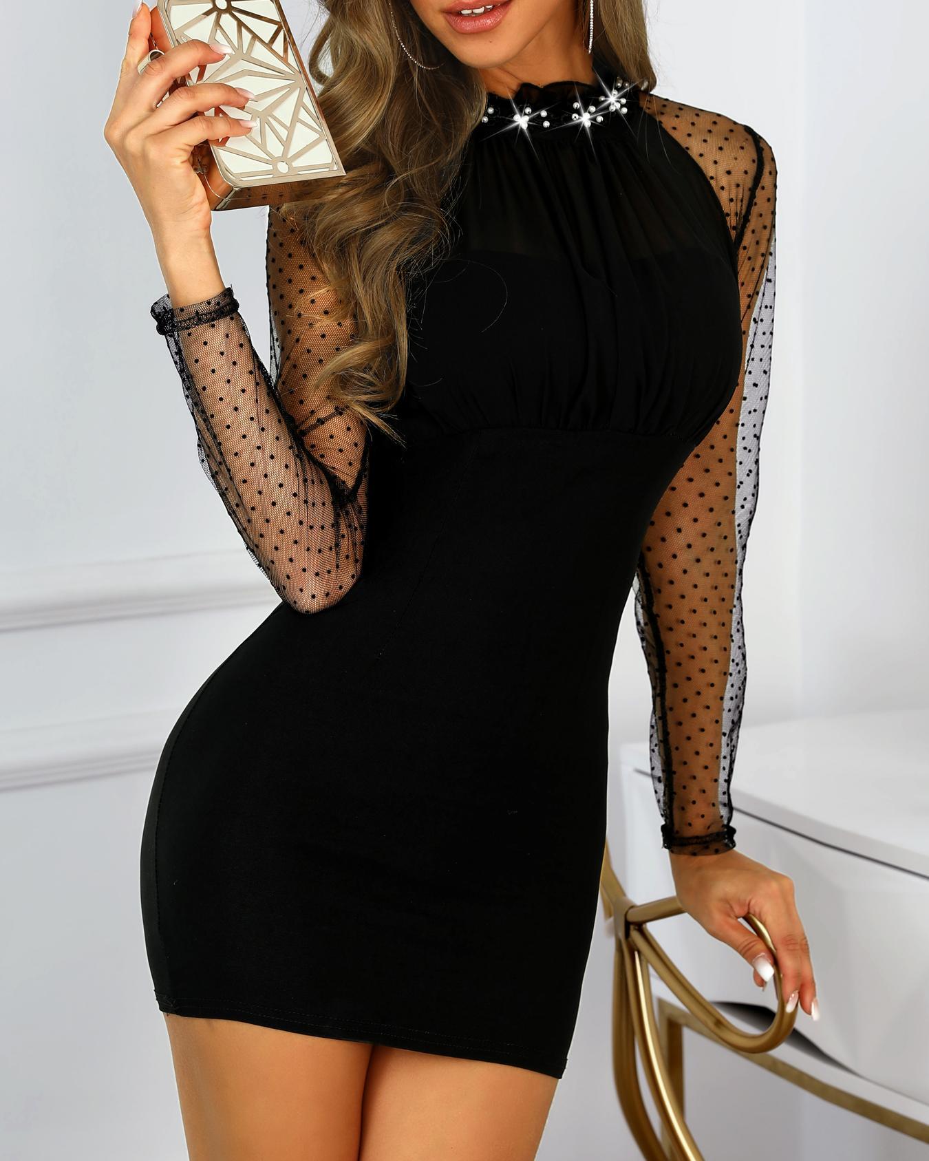 boutiquefeel / Vestido ajustado con tachuelas de manga de malla transparente