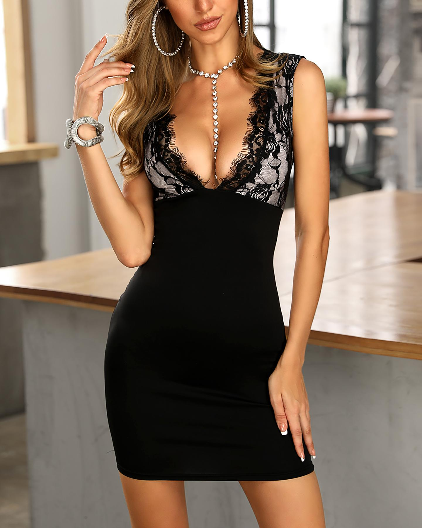 Eyelash Lace Insert Bodycon Dress