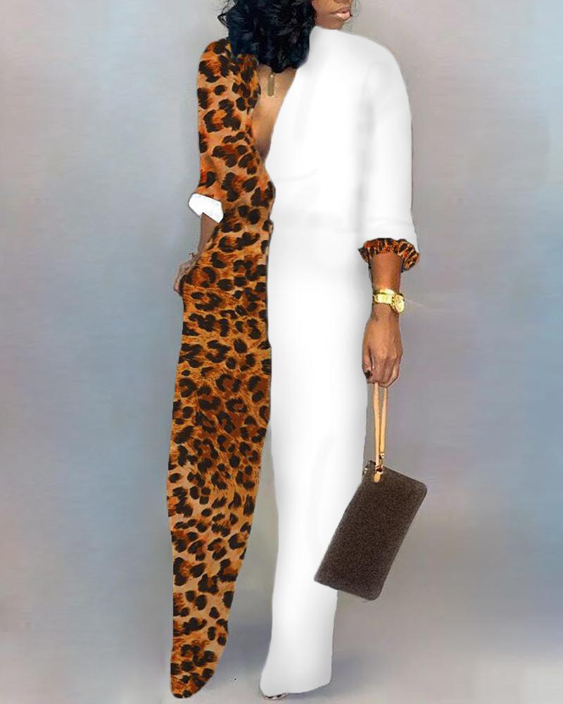 Plunge Colorblock Insert Leopard Jumpsuit фото