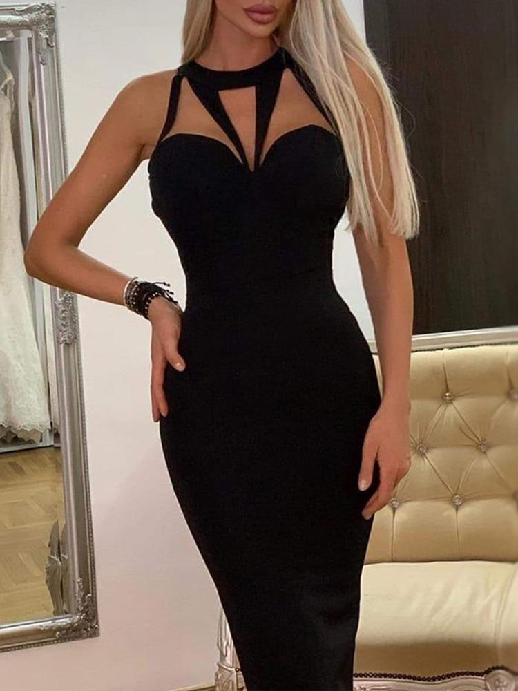 Geo Cut Out Sleeveless Bodycon Dress, Black