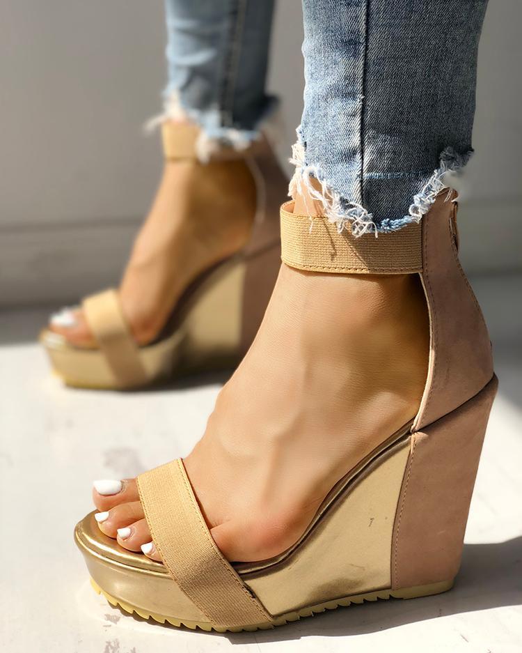 Sexy Open Toe Back Zipper Wedges Sandals