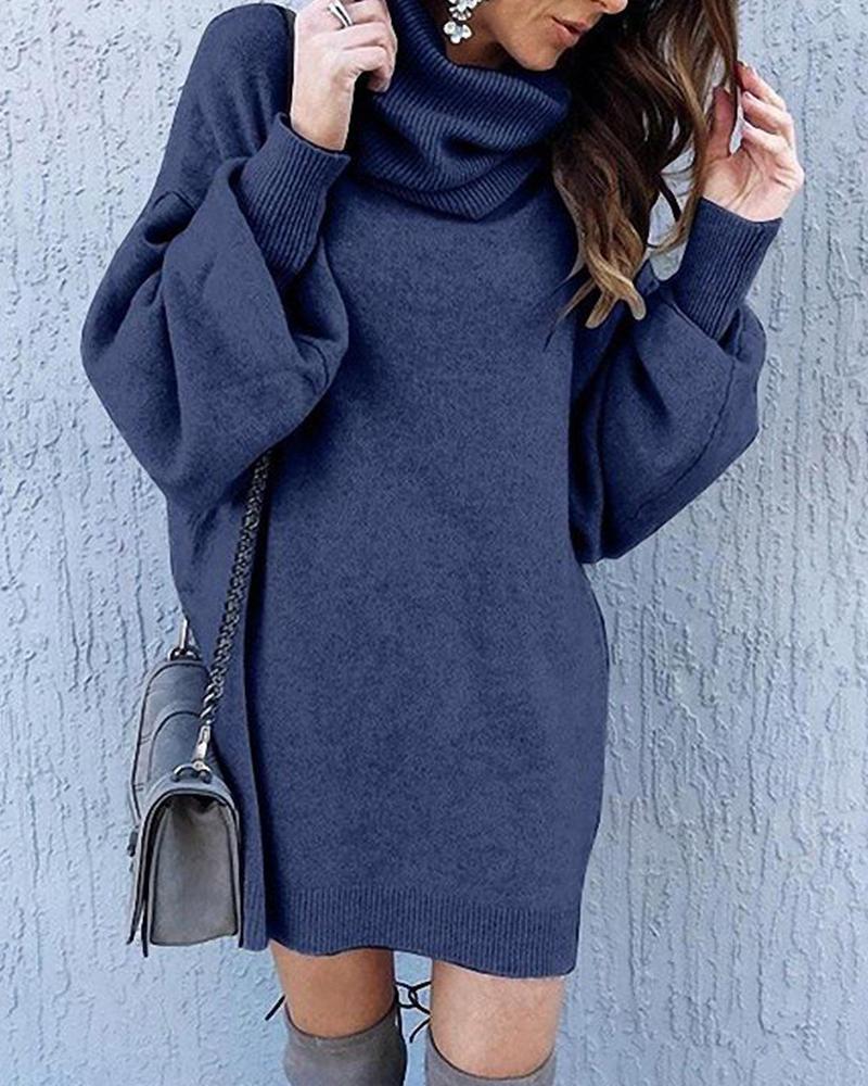 ivrose / Solid High Neck Sweater Dress