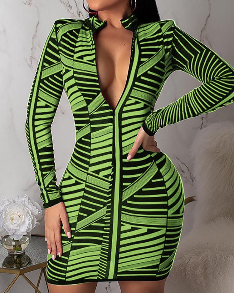 joyshoetique / Contrast Stripes Long Sleeve Zipper Bodycon Dress
