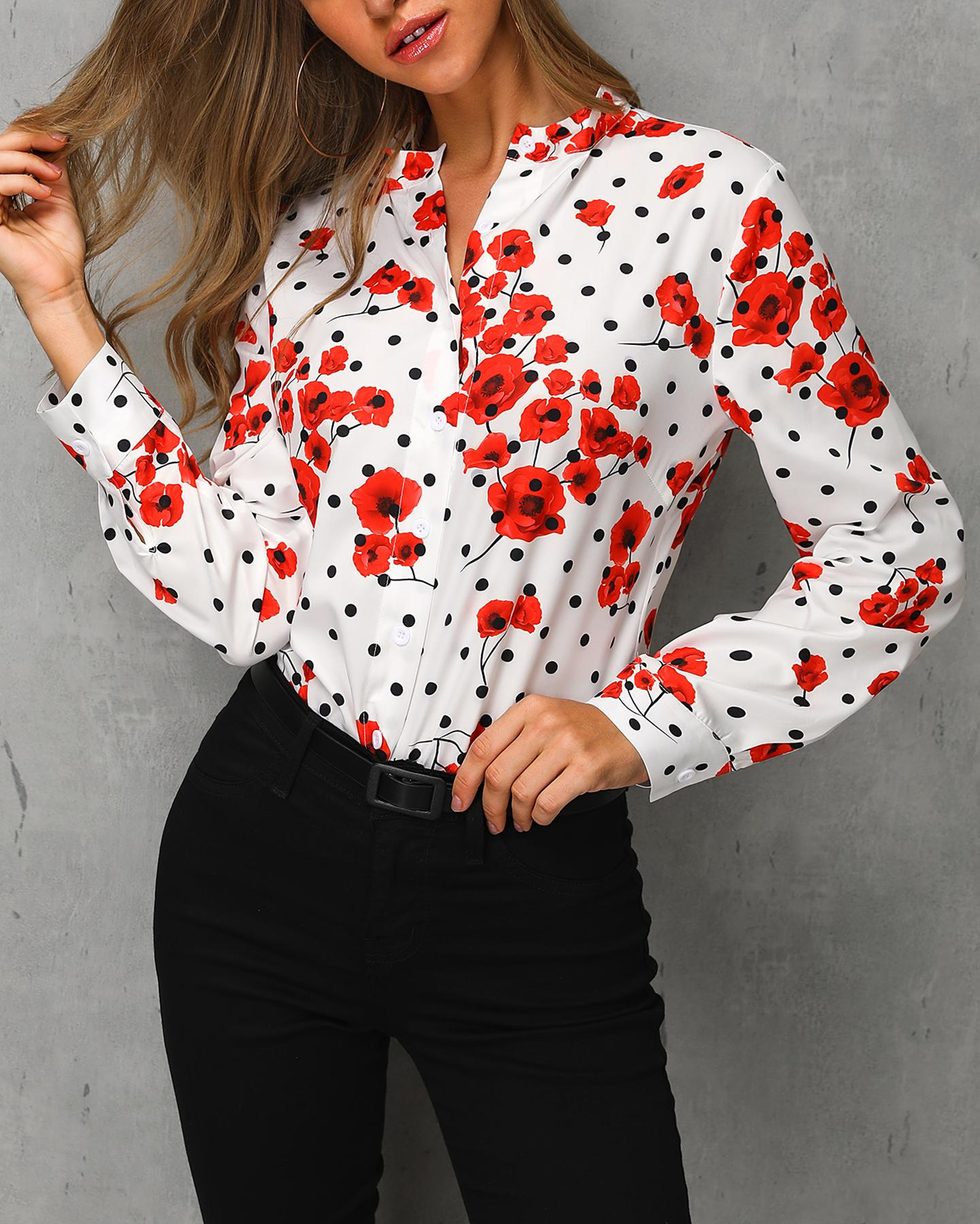 Dot Floral Print Long Sleeve Casual Top