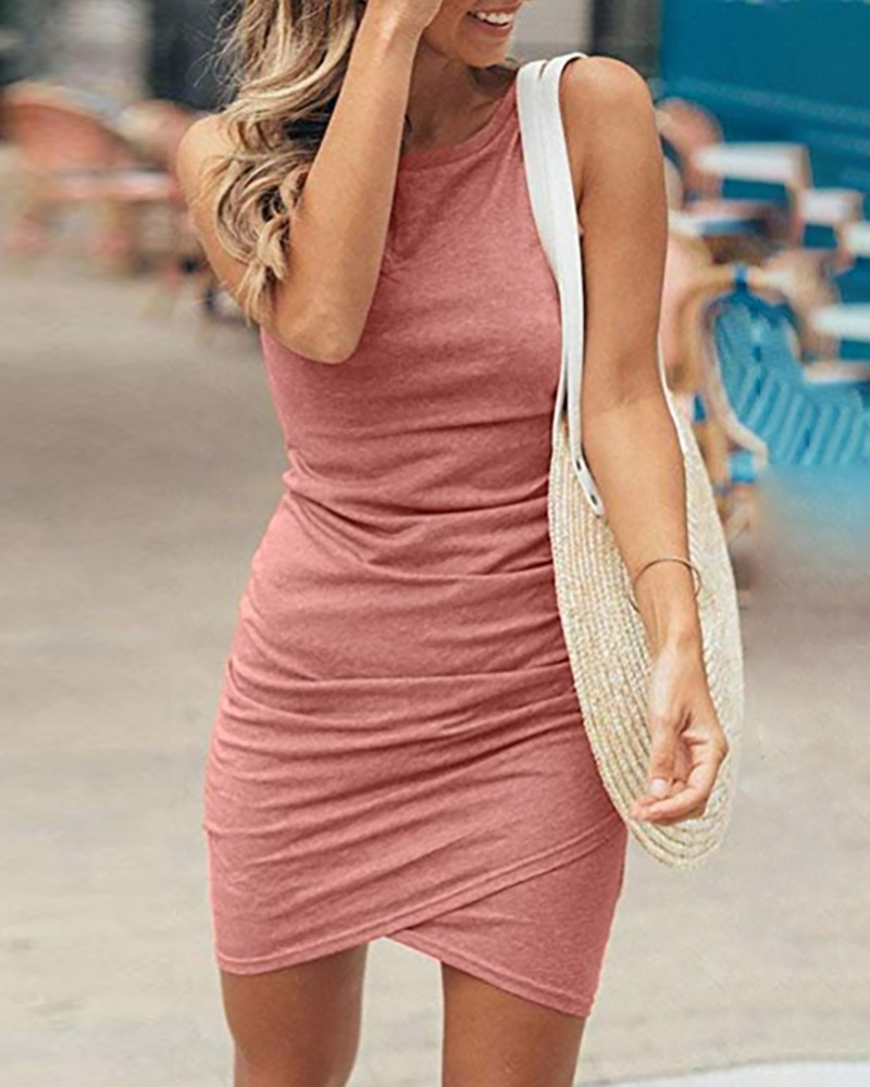 Image of Ruched Sleeveless Surplice Wrap Bodycon Dress