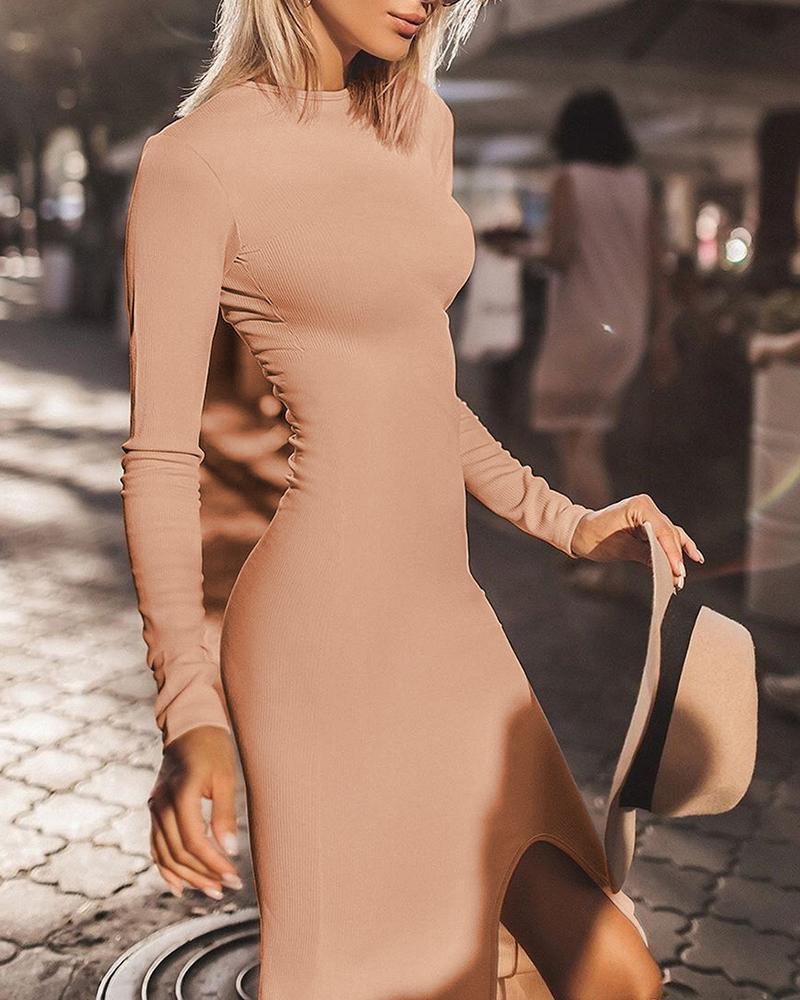 Solid Long Sleeve Bodycon Slit Dress фото