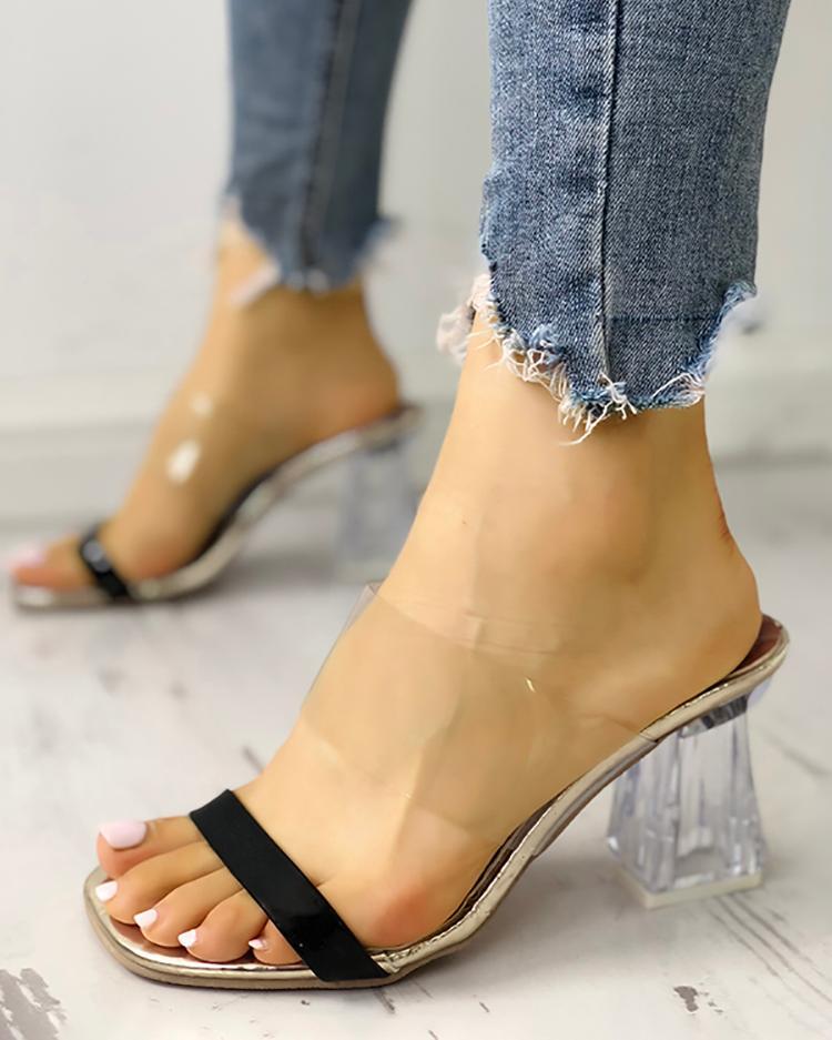 chicme / Sandálias de Salto Grosso e Transparente com Toe Aberto