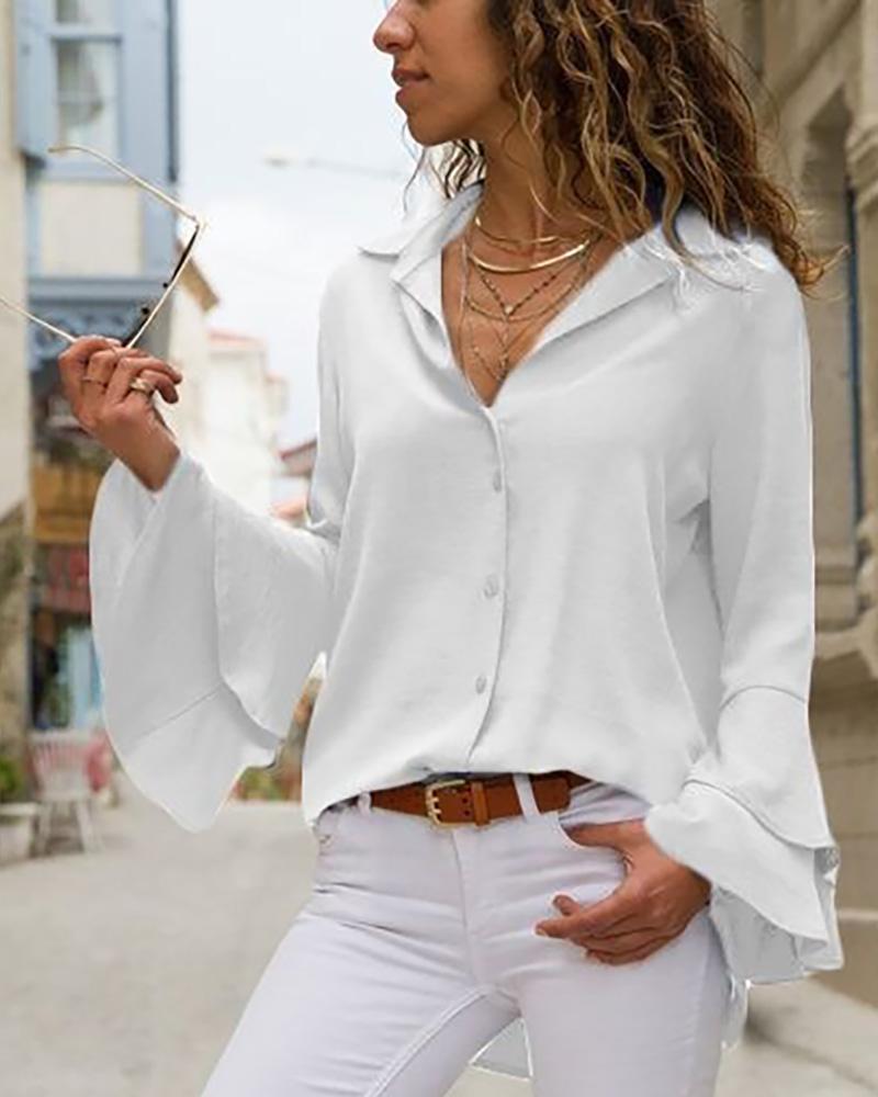 Turn-down Collar Long Sleeve Blouse фото