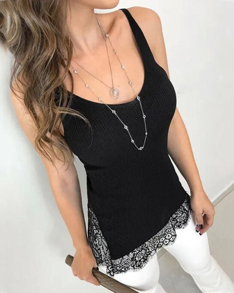 Lace Stitching Cami Top фото