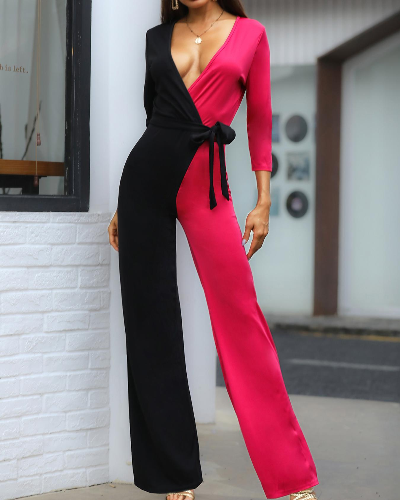 Two Tone Tied Waist Wrap Jumpsuits фото
