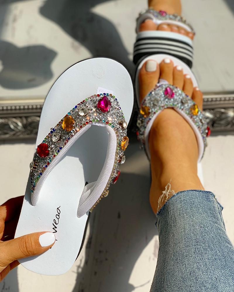 Diamante Trim Design Casual Platform Sandals фото