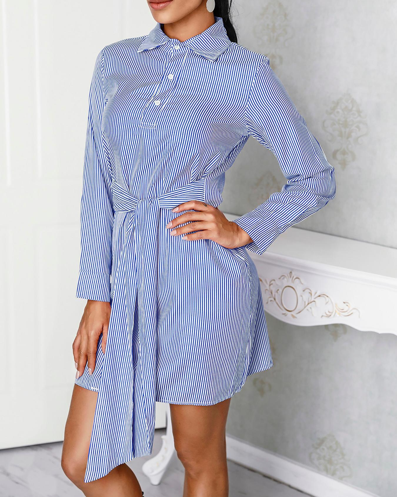 Pinstripes Long Sleeve Tie Waist Shirt Dress
