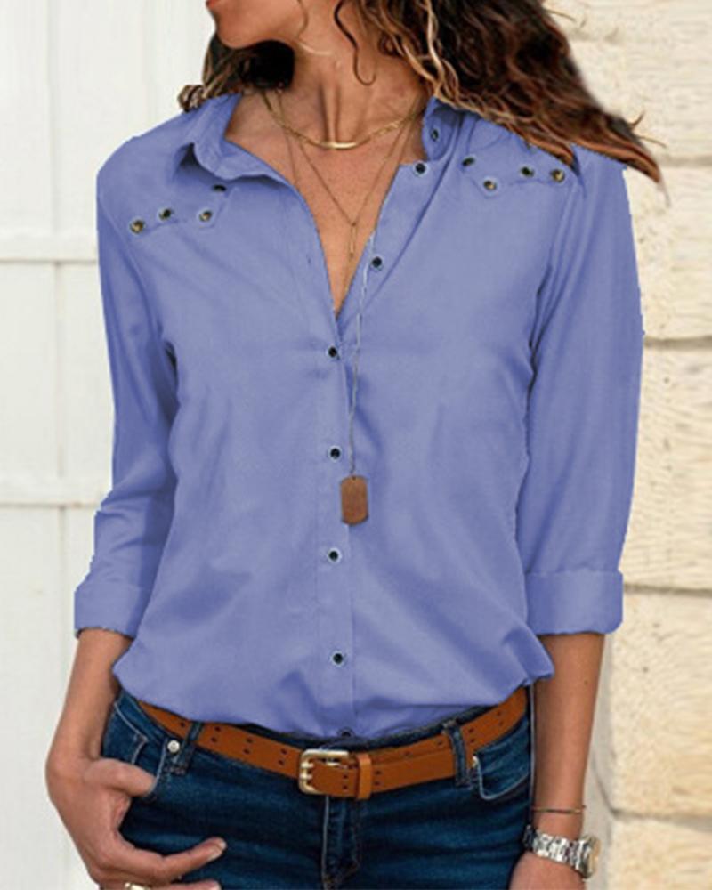 chicme / Turn-down Collar manga comprida camisa Casual