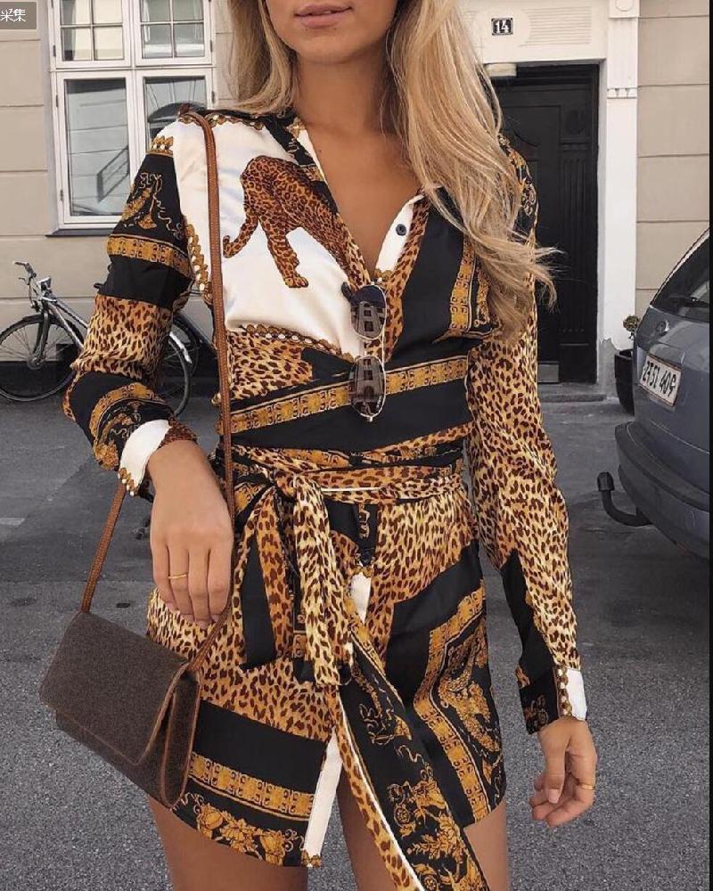ivrose / Camisa de manga larga con estampado de leopardo