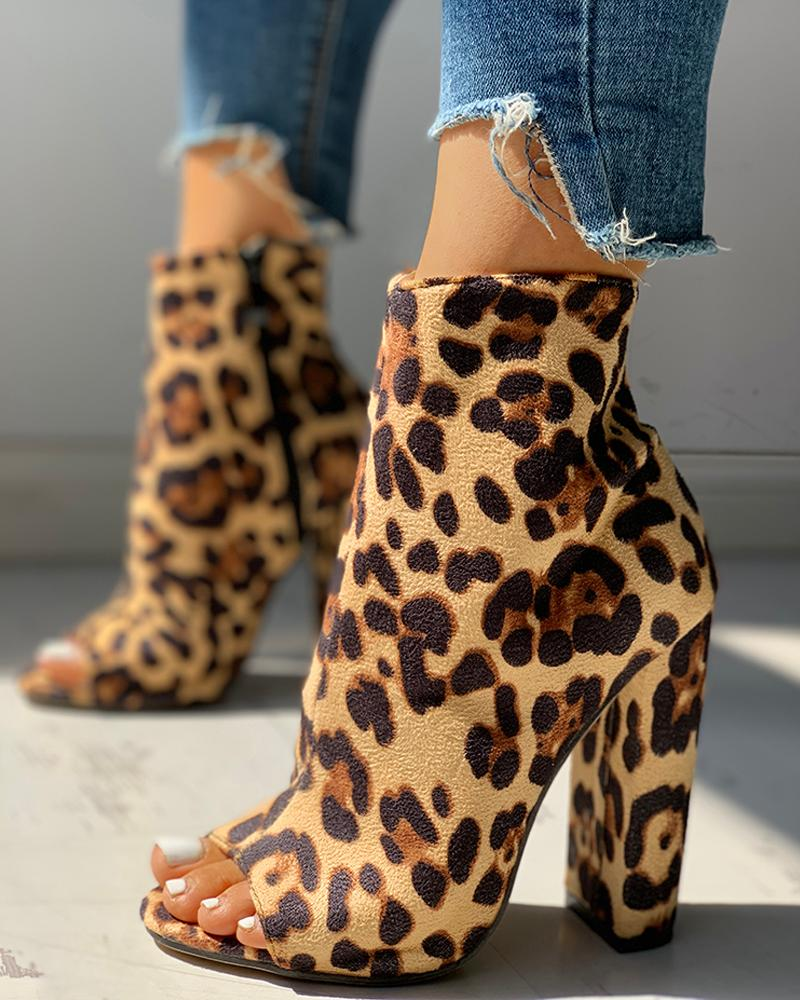 Colorful Snakeskin Chunky Heeled Boots фото