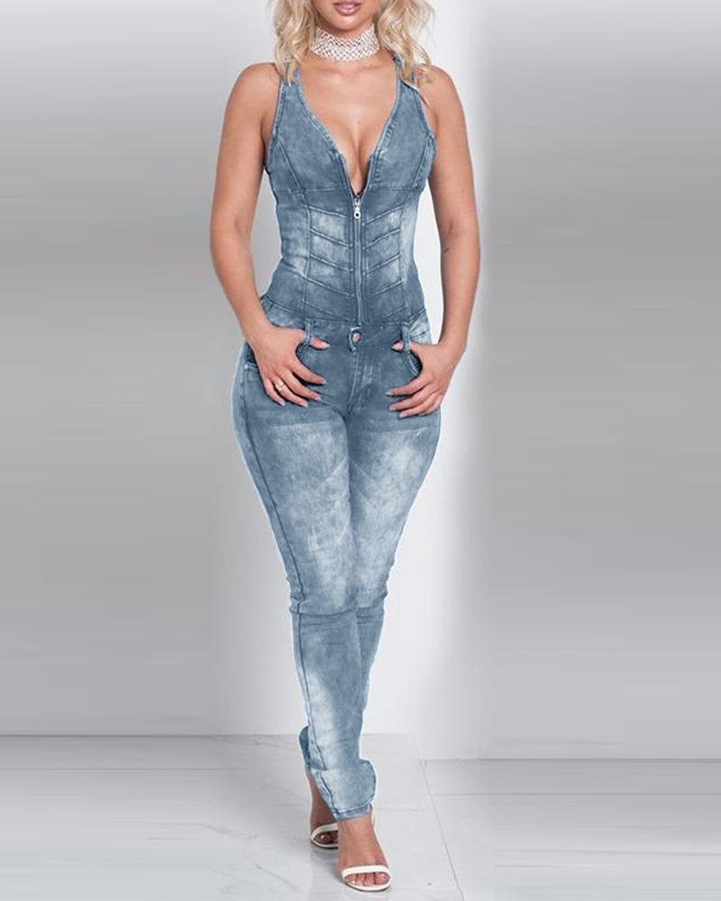 V-Neck Sleeveless Back Hollow Denim Jumpsuit, Blue