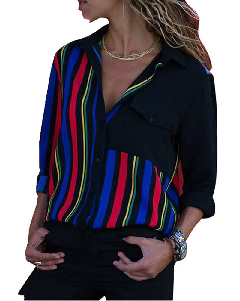 Contrast Striped Button Through Shirt фото