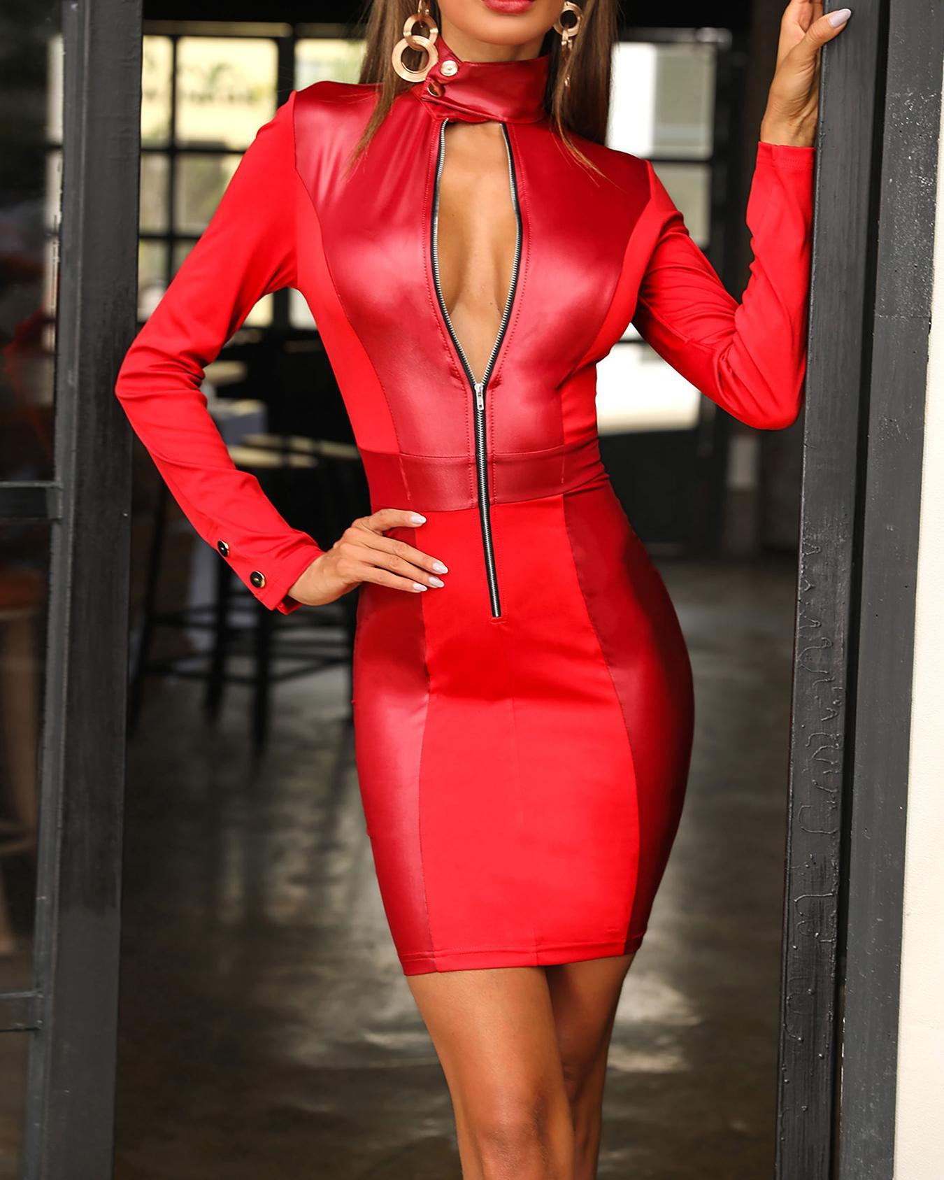 Coated PU Insert Zipper Design Dress, Red