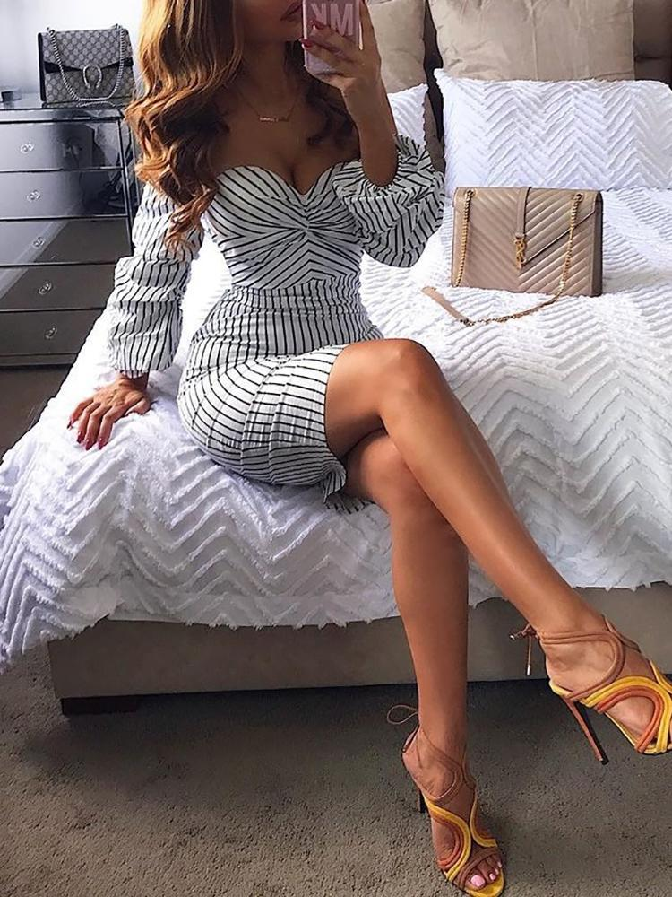 Stripes Off Shoulder Puff Sleeve Bodycon Dress, White