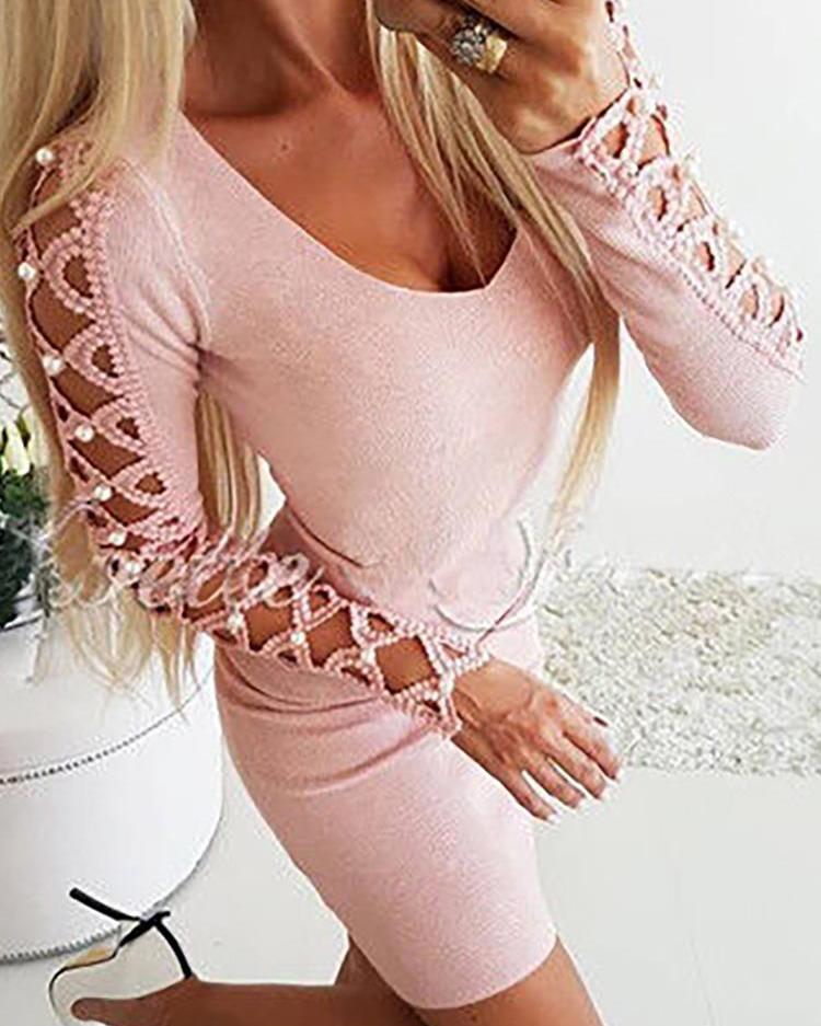 boutiquefeel / Oco Out frisado embelezado vestido de manga comprida