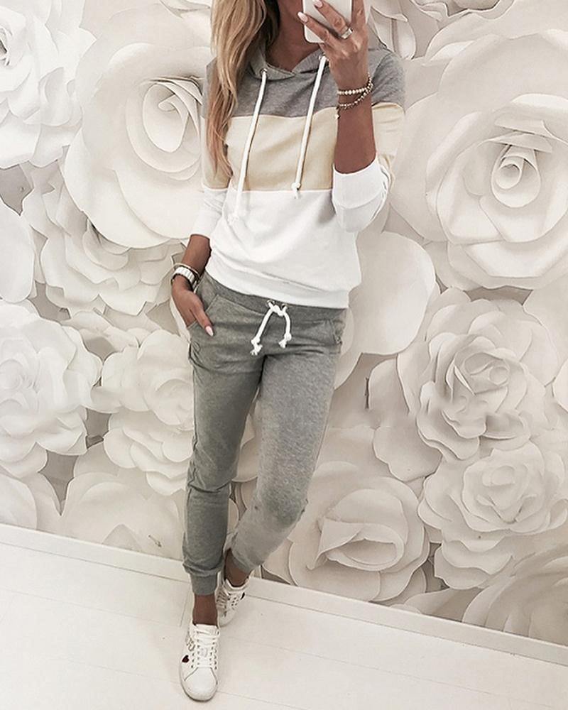 Drawstring Colorblock Hooded Top & Pant Sets фото