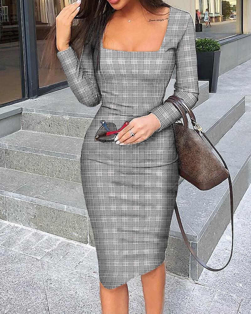 boutiquefeel / Vestido midi liso con cuello cuadrado y manga larga