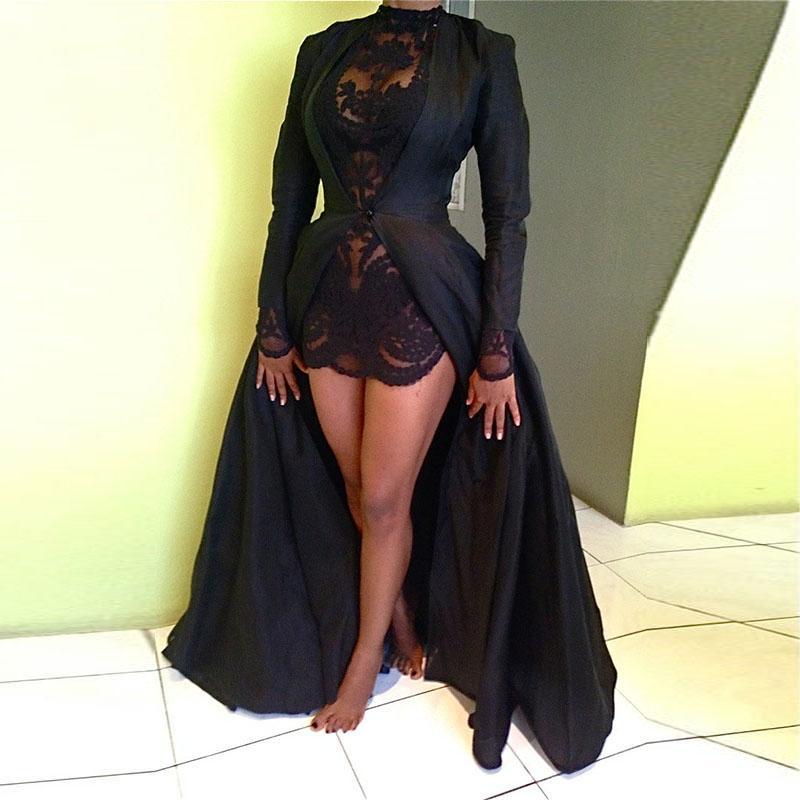 Сексуальный 2шт кружева шифоновое платье макси платье с длинным рукавом повседневные платья