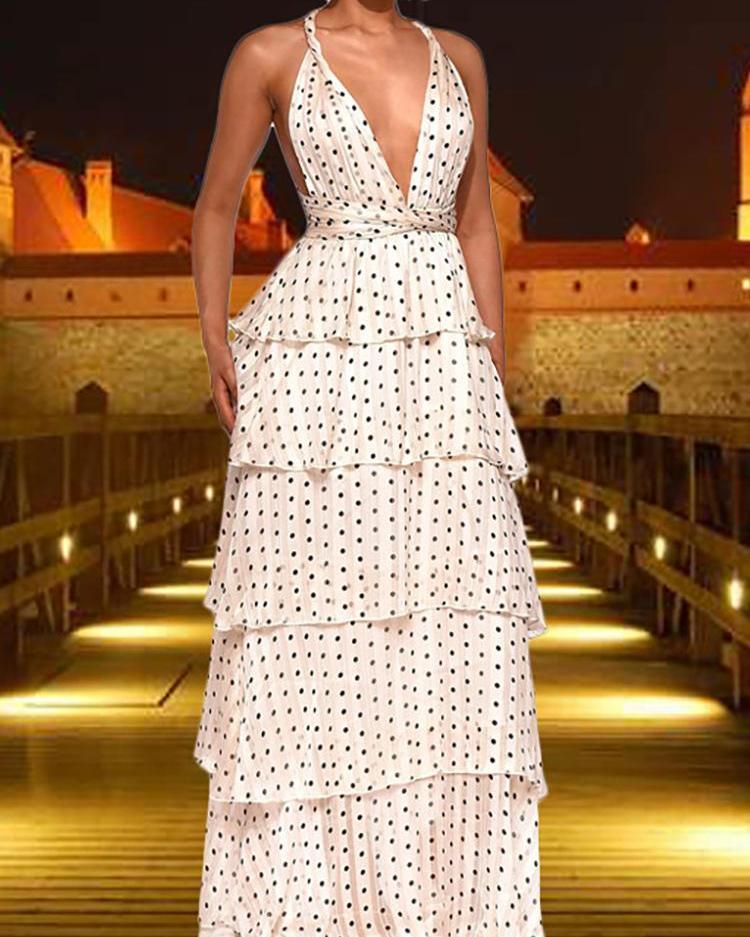 ivrose / Polka Dots Crisscross Backless Layered Maxi Dress