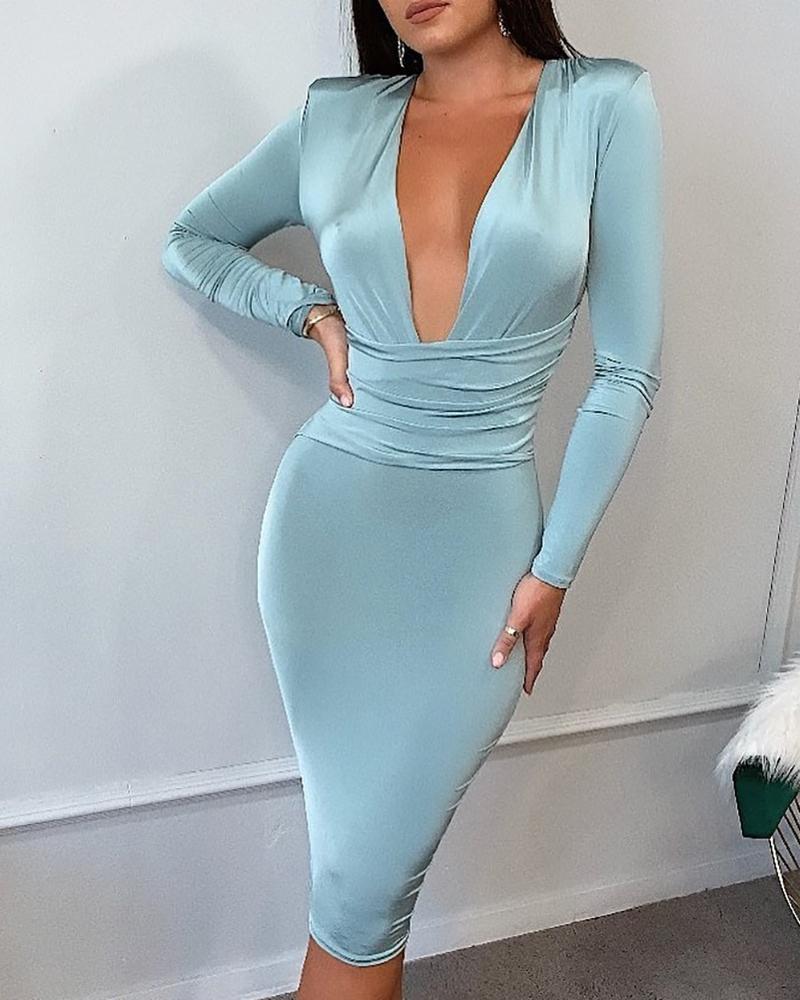 Deep V Padded Shoulder Ruched Bodycon Dress, Light blue