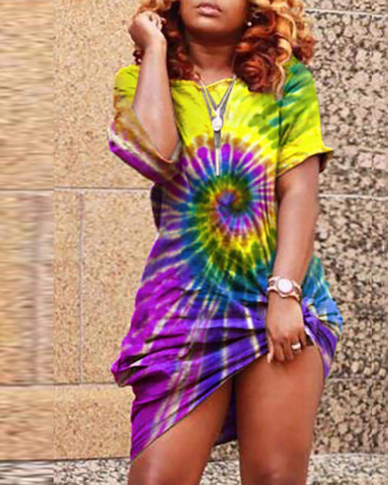 Colorful Tie Dye Print Casual Dress фото