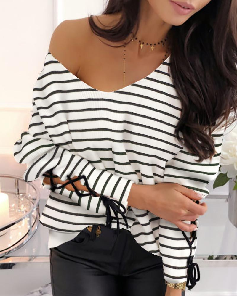 Striped Tied Cuff Casual Blouse фото