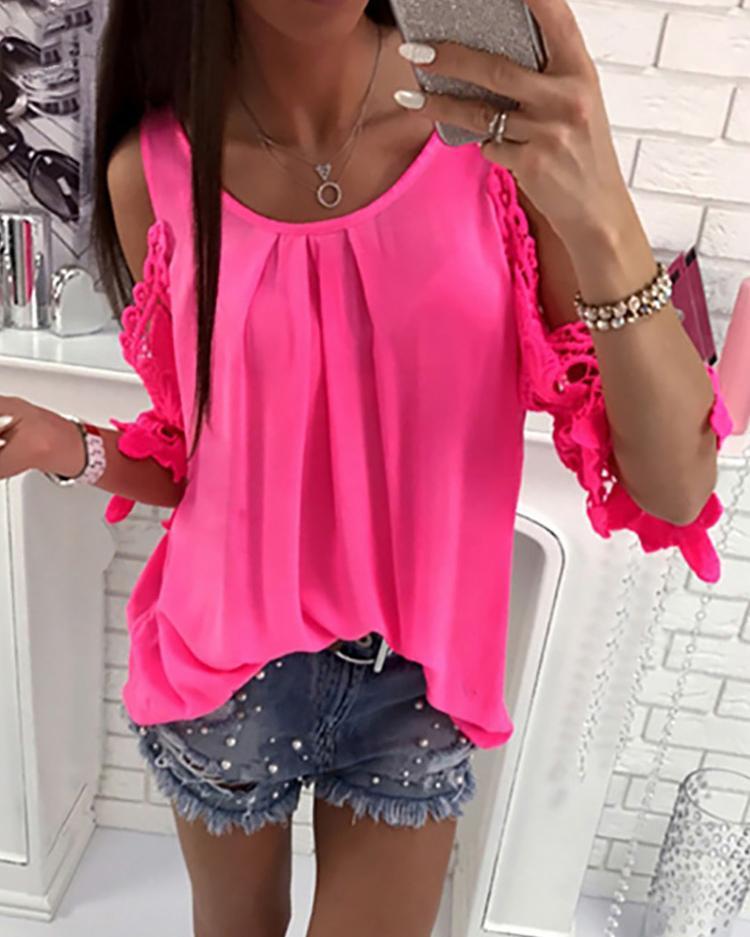 Кружева Крючком Холодное Плечо Плиссированные Блузка - Ярко-Розовый