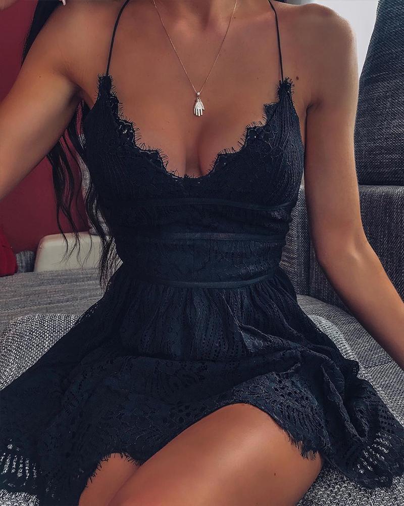 ivrose / Scalloped pescoço rendas guarnição mini vestido