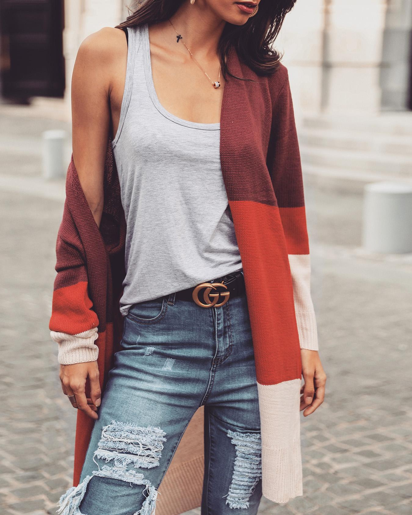 Contrast Color Striped Open Front Cardigan