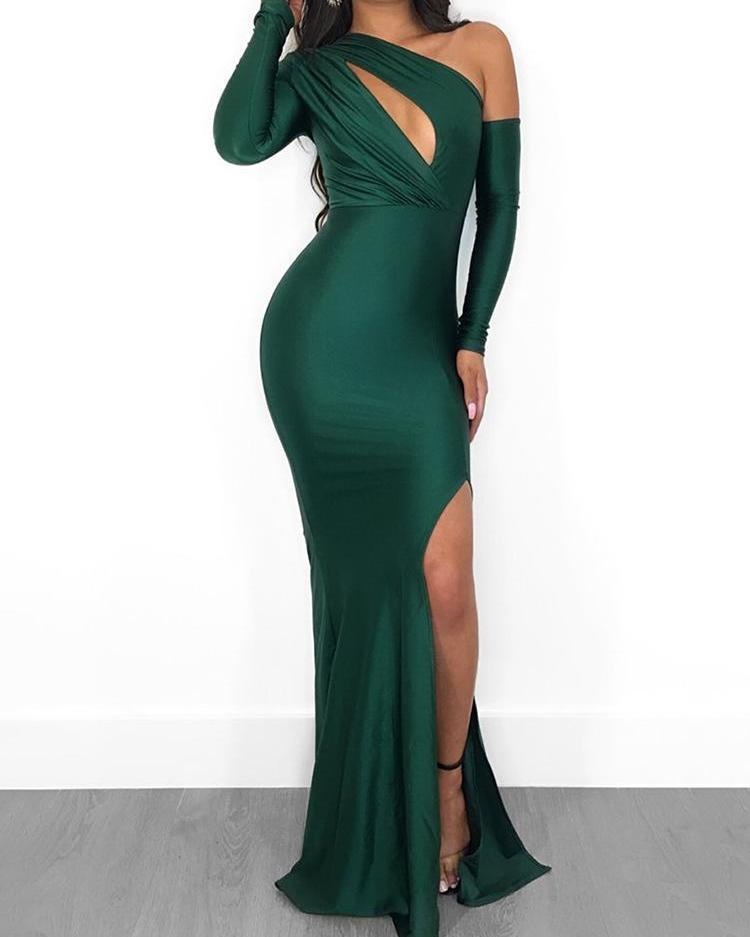 Solid One Shoulder Cut Out Slit Side Party Dress, Green
