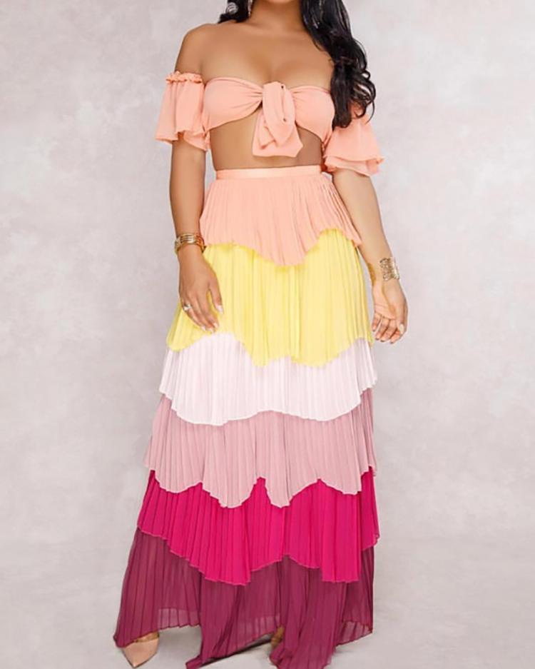 Off Shoulder Crop Top & Maxi Layered Skirt Set