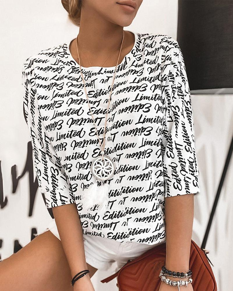 Letter Print Half Sleeve Casual T-shirt фото