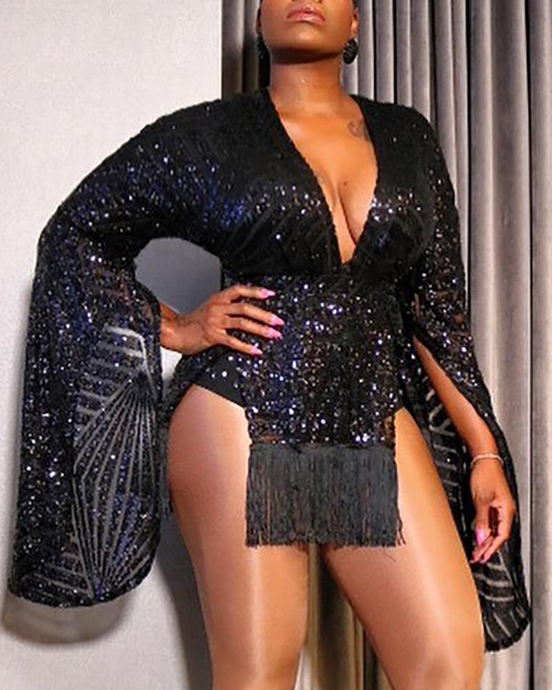 boutiquefeel / Glitter V-Neck Long Sleeve Slit Tassel Sequins Bodycon Dress