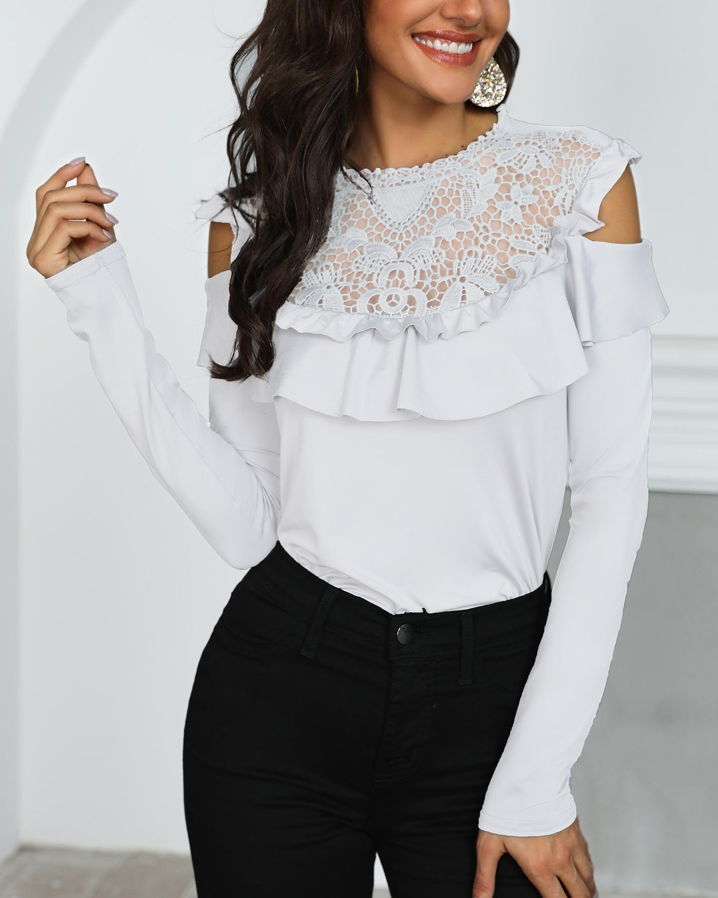 Crochet Lace Frills Open Shoulder Blouse фото