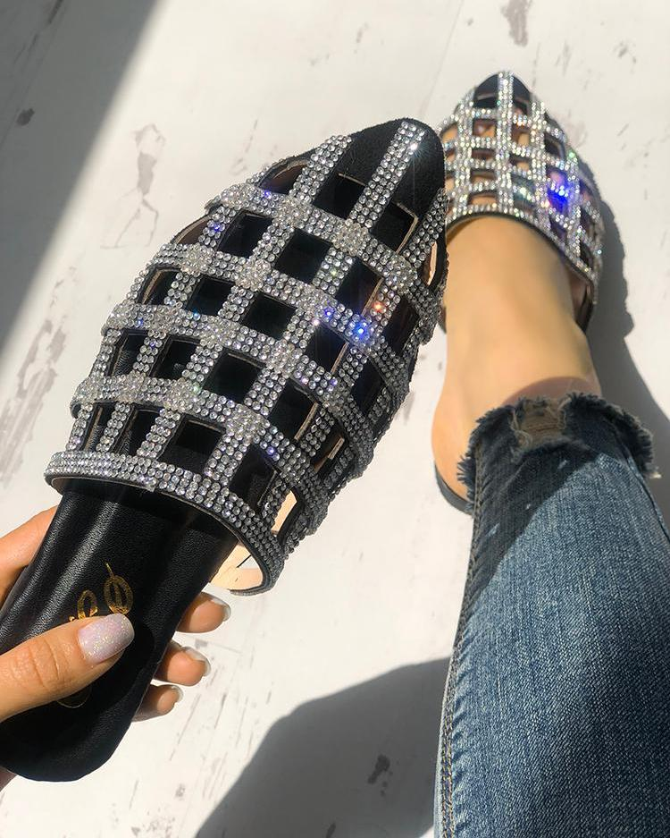 chicme / Glittering Hollow Out Pointed Toe Flat Sandals