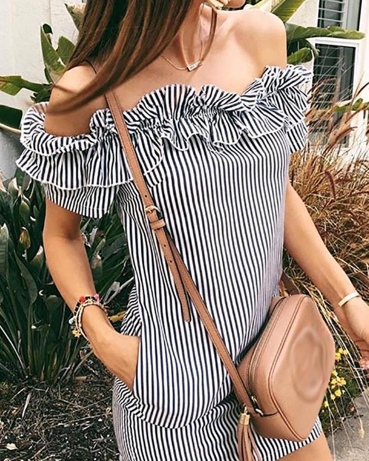 Striped Ruffles Off Shoulder Pocket Mini Dress фото
