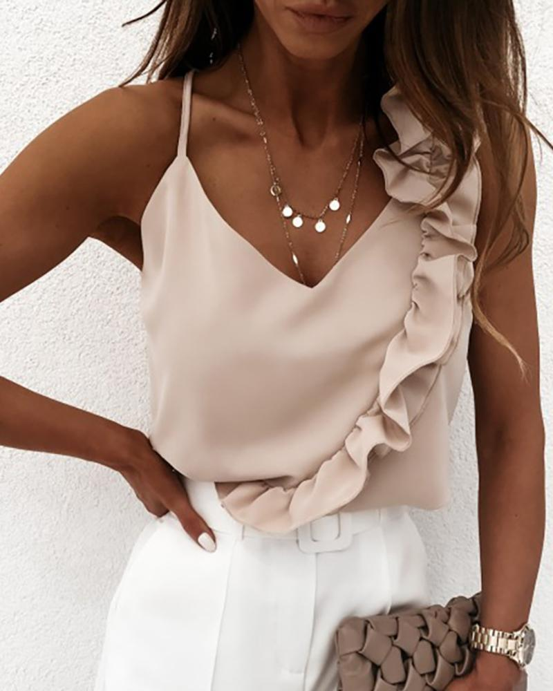 Ruffles Satin Casual Top фото